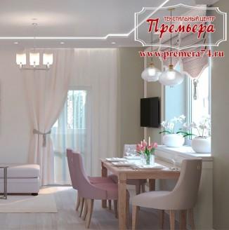 Пыльно-розовая кухня-гостиная