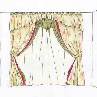 Эскиз классических штор для спальни