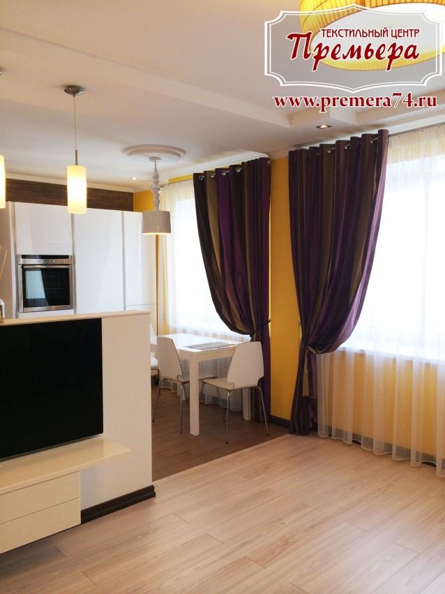 Дизайн штор для кухни и зала в квартире студии
