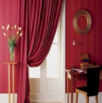 Красная штора для гостиной