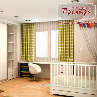Детская с зелеными шторами