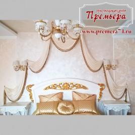 Золотое оформление спальни в античном стиле