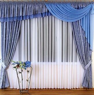 Синие шторы в гостиную