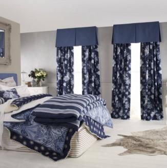 Шторы в синюю спальню
