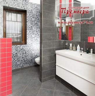 Декоративная штора в ванную комнату
