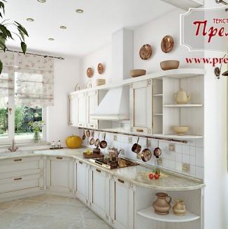Римские шторы в стиле прованс для кухни