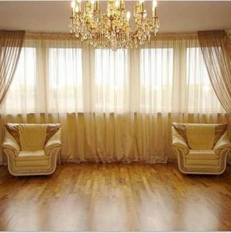 Золотые шторы в гостиную