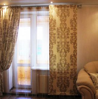 Классические японские шторы в гостиной