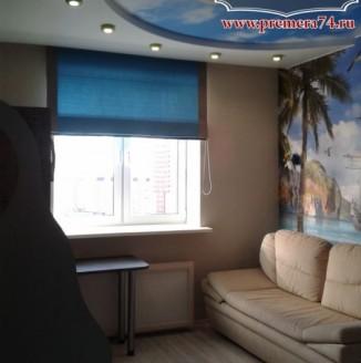 Синяя римская штора для комнаты отдыха