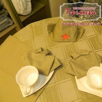 Декоративная скатерть и салфетки в русскую баню
