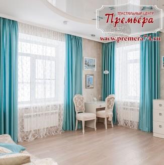 Роскошные шторы для голубой гостиной