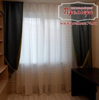 Матовый белоснежный тюль с плотными шторами