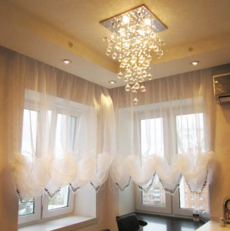 Австрийские шторы из белой органзы