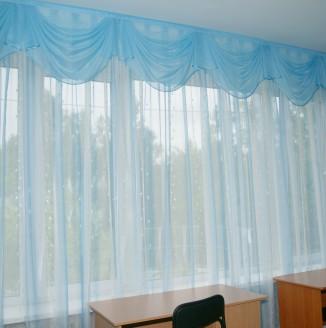 Современные синие шторы