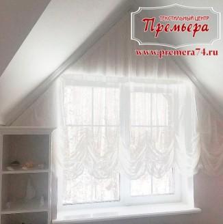 Тюль и карнизы  на эркерное окно