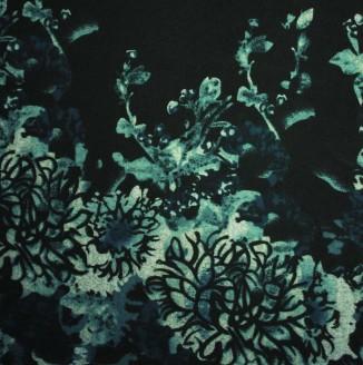 """Трикотаж ангора """"Цветы"""" Корея 800= (бирюзовый)"""