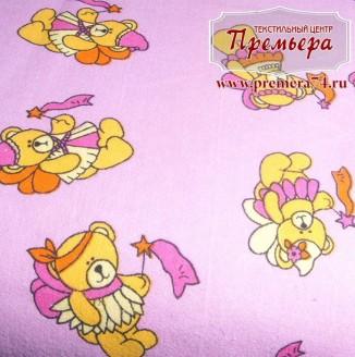 Фланель Мишки на розовом