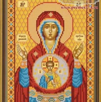Икона из бисера Образ Пр. Богородицы Знамение