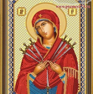 Икона из бисера Пресвятая Богородица Семистрельная