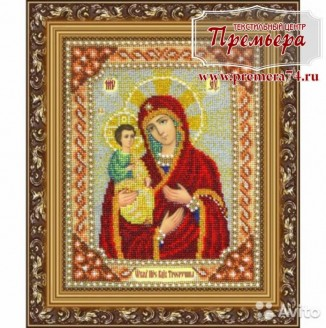 Икона из бисера Пресвятая Богородица Троеручница
