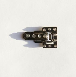 Крючок со стразами  (СКВ 1304, прямоугольник, 10х5мм, никель темный)