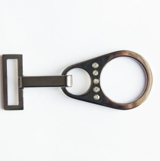 Крючок со стразами  (СКВ 2219, капля, никель темный)