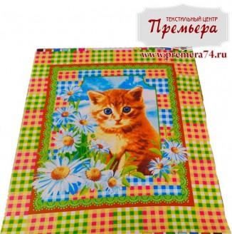 Вафельное полотно ромашки с котенком