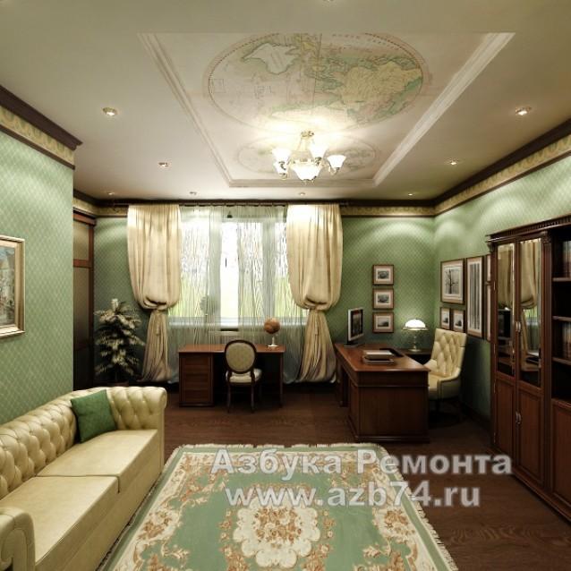 Кабинет частного дома в смешаном стиле