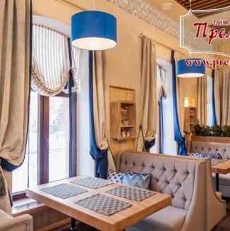 Текстильное оформление главного зала ресторана РОДНЯ