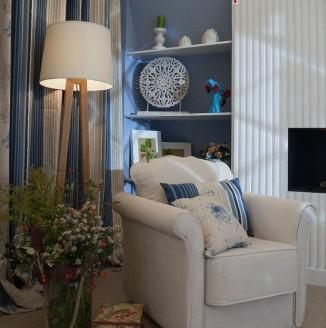 Шторы на люверсах для синей гостиной
