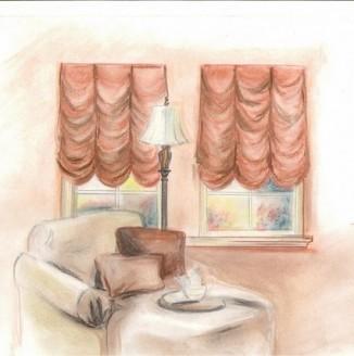 Эскиз французских штор для гостиной