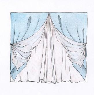 Эскиз голубых штор для спальни