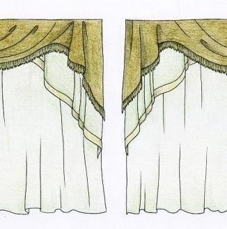 Эскиз коричневых штор в гостиную