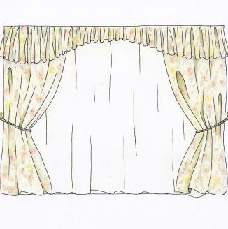Эскиз классических штор для гостиной