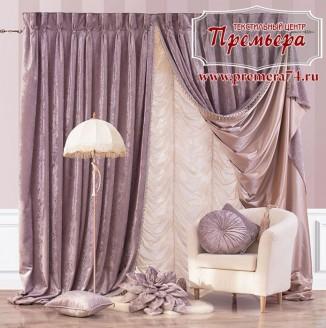 Декорирование гостиной лавандовой тканью