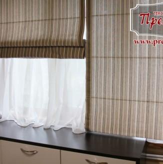 Римские льняные шторы в кухню