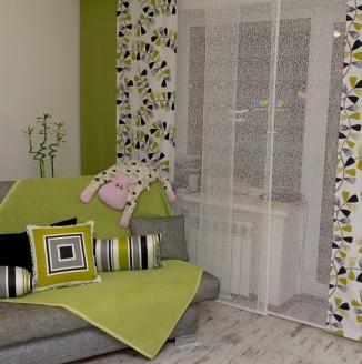 Японские шторы в квартире студии
