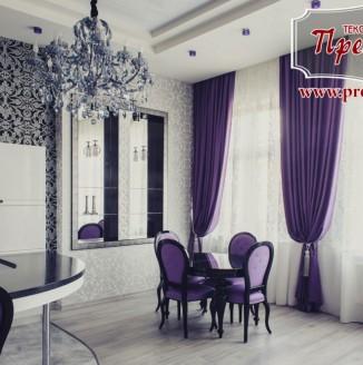Фиолетовые шторы для гостиной