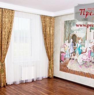 Прямые коричневые шторы для гостиной