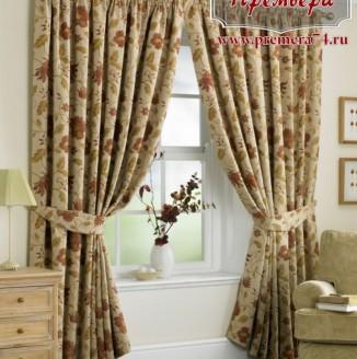 Прямые шторы в стиле прованс для гостиной