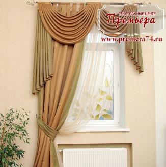 Плотная штора на окно в стиле неоклассики