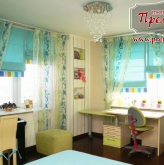 Бирюзовые римские шторы для комнаты девочки