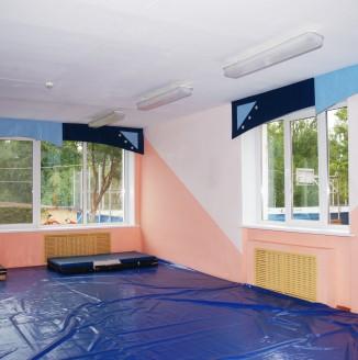 Ламбрекены для спортзала в детском доме №14