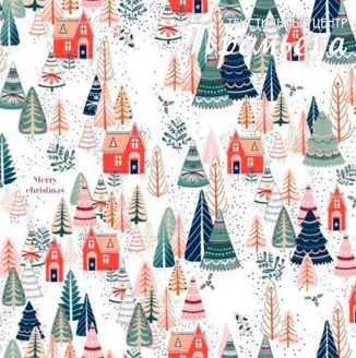 Скатерочная ткань Рогожка Merry Christmas