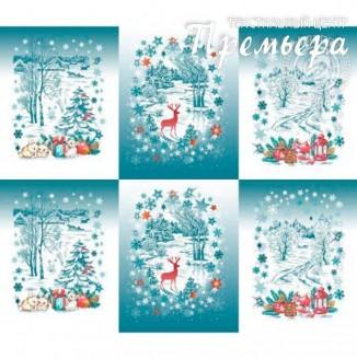 Скатерочная ткань Рогожка Зимний лес