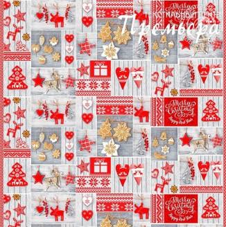 Скатерочная ткань Рогожка Новогоднее печенье