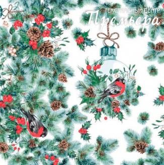 Скатерочная ткань Рогожка Снегири на ветке
