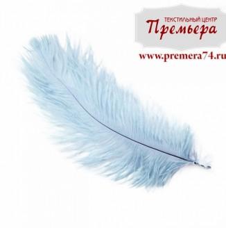 Перья декоративные (страус, 55см, голубой)
