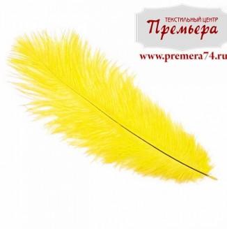 Перья декоративные (страус, 55см, желтый)