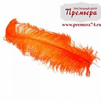 Перья декоративные (страус, 55см, оранжевый)